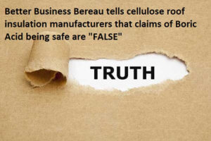 Eco-insulation and all cellulose manufacturers told not to claim boric acid is safe