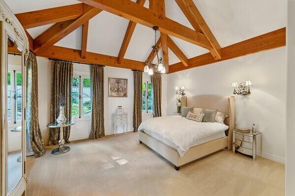 A bright rustic attic bedroom